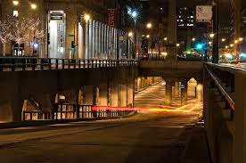 Night view of a north bound entrance down to Lower Wacker Drive. Photo courtesy of www.autonueroticfixation.com
