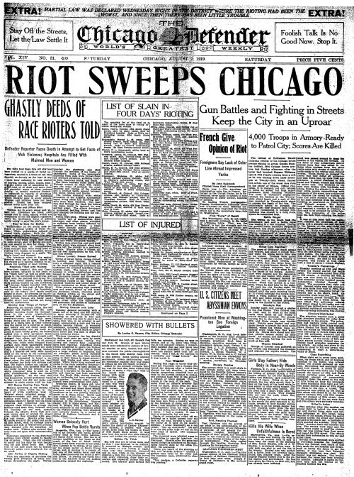Front page of the August 2, 1919 Chicago Defender. Photo courtesy of cameronmcwherter.com