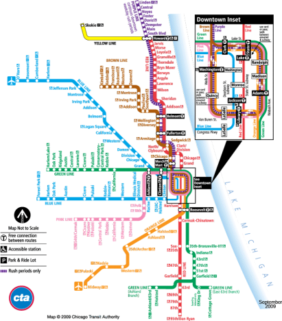Map of all the CTA Branch lines. Lines include the Purple, Pink, Brown, Blue, Yellow, Green and Orange Lines.